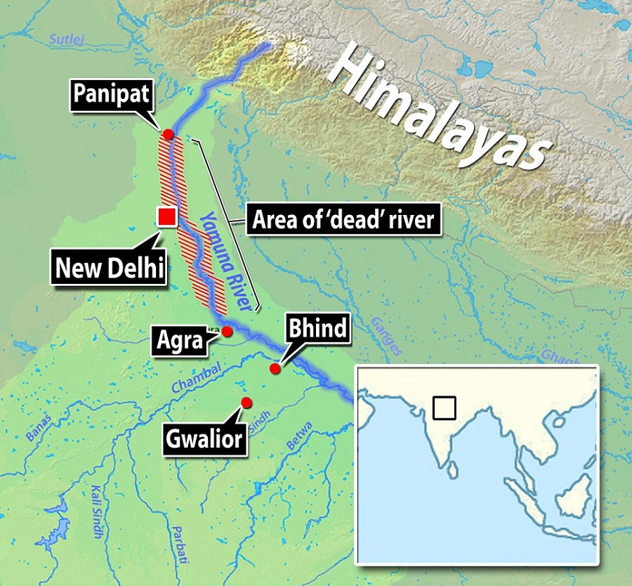 1  Polluted Several million tonnes of sewerage are dumped into the Yamuna every day.jpg