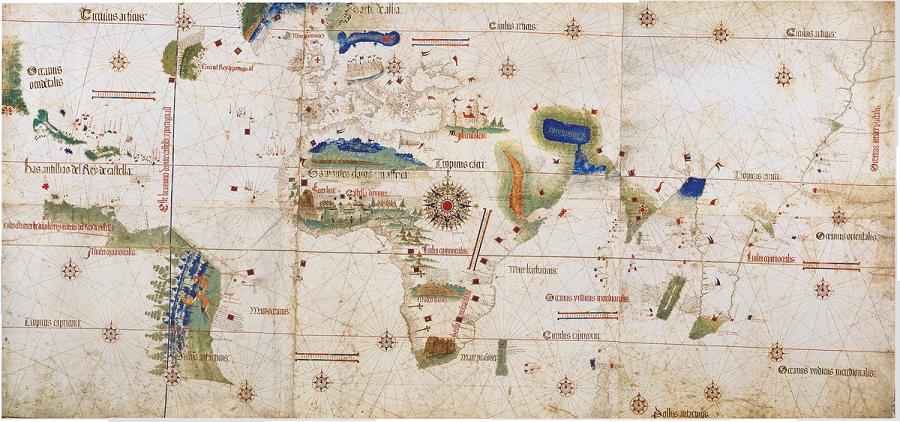 Планисфера Кантино (1502), старейшая из сохранившихся португальских навигационных карт.png