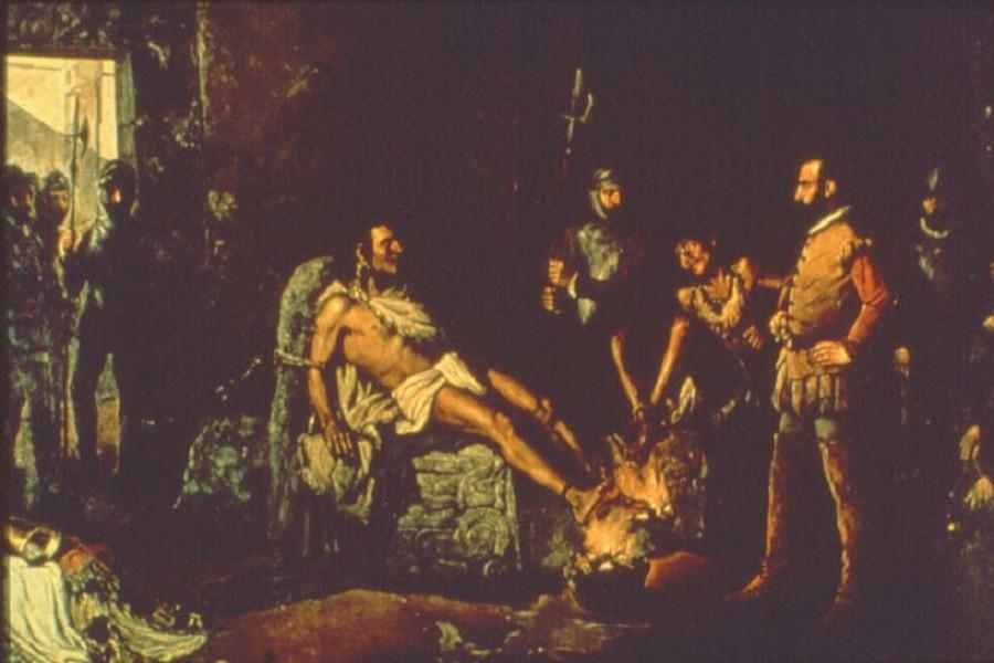 _Пытка Куаутемока.правителя ацтеков   Картина Леандро Исагирре, 1893 год.jpg