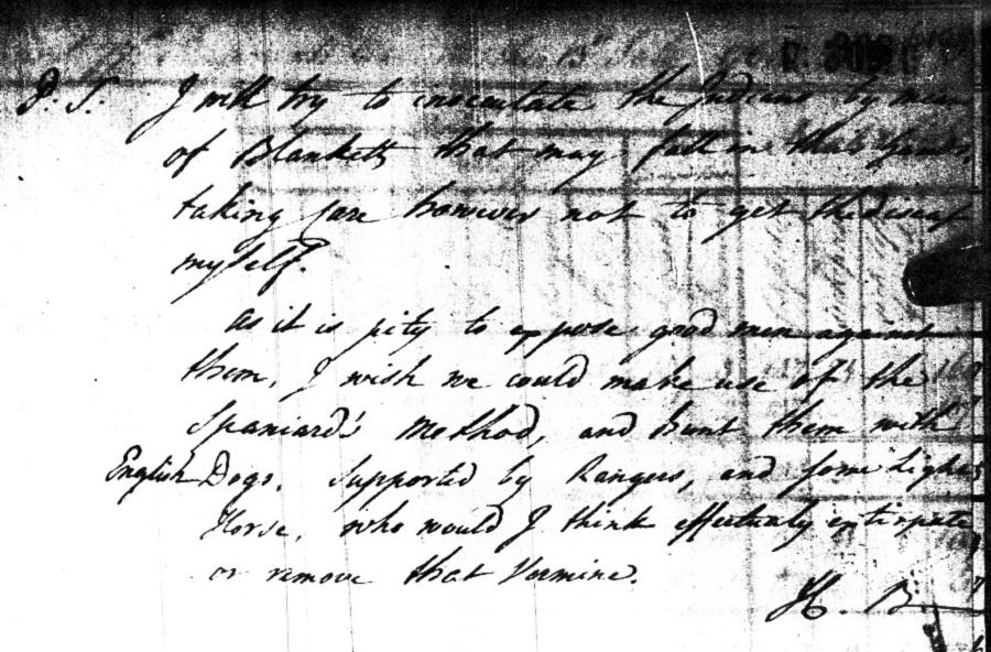 1 Полковник Генри Букет генералу Амхерсту от 13 июля 1763 года предлагает в постскриптуме раздачу одеял для прививки индейцев.jpg