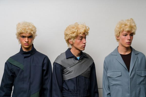 Wig-clad models backstage before the Kiko Kostadinov show.jpg