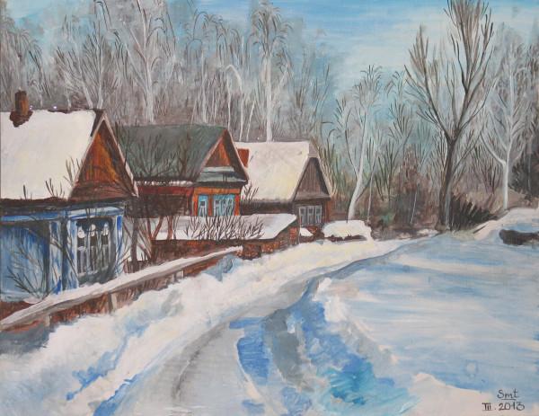 Деревня, картина Уваровой Ольги
