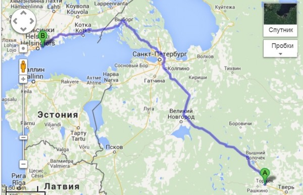 1.Торжок-Вуосари,Хельсинки=866км2