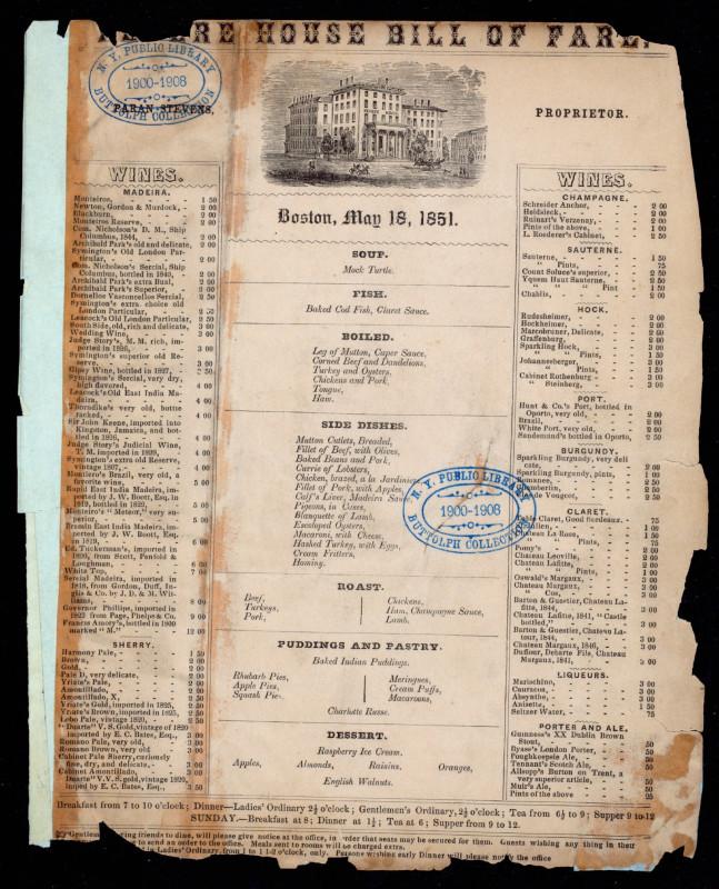 Revere House menu 1851