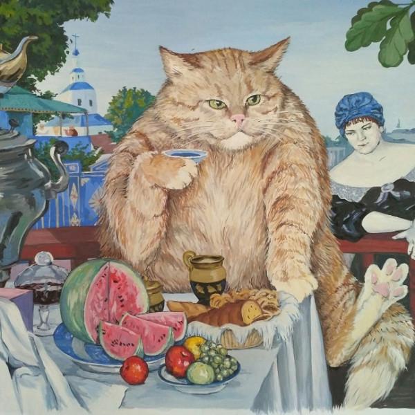 кот пьёт чай