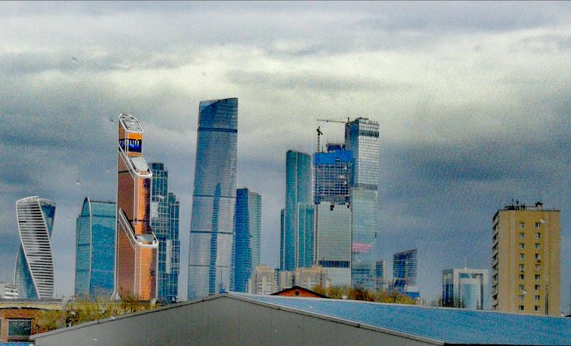 Туманный Альбион в Москве самом, Небоскребы, крыше, дымке, после, дождя
