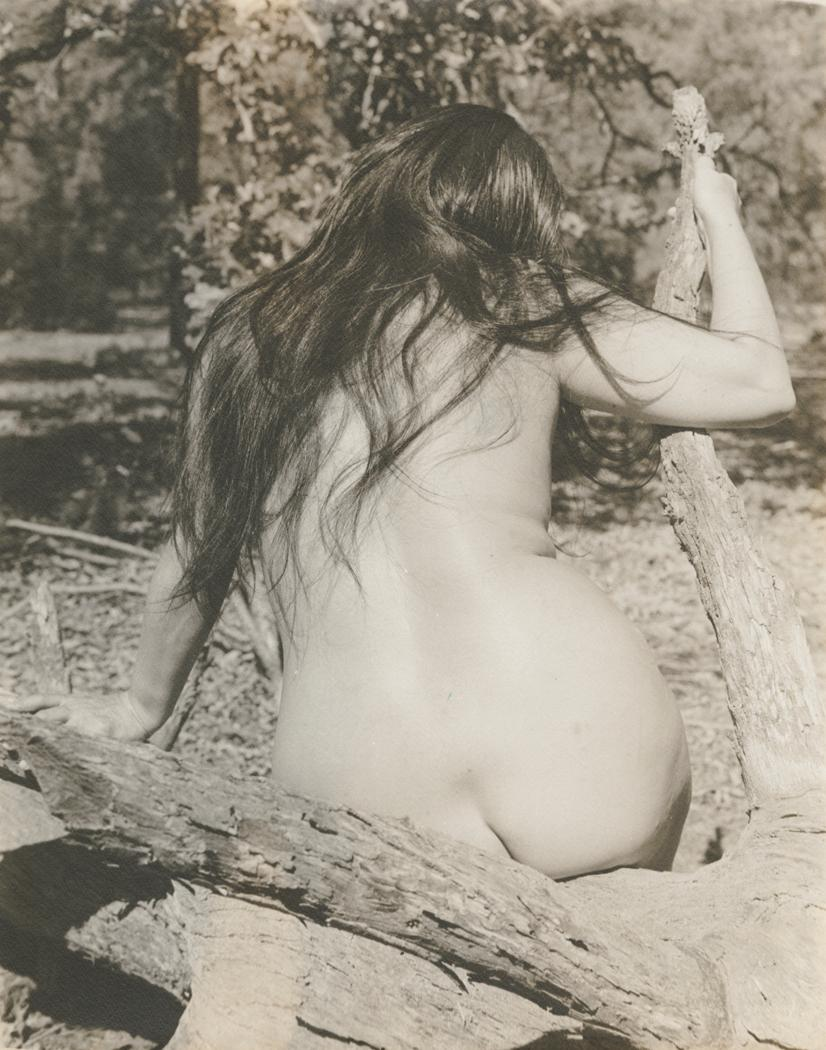 josef-breitenbach-back-of-female-nude-with-long-dark-hair-seated-outdoors-on-branching-log-sept-1961