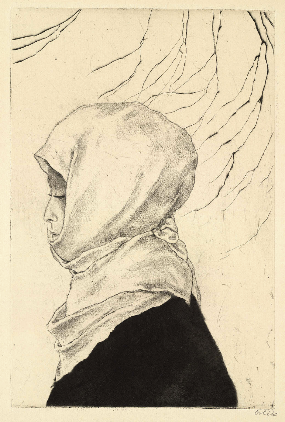 Japanese Woman in Winter Clothes, c.1870 - 1932. Emil Orlik. Etching