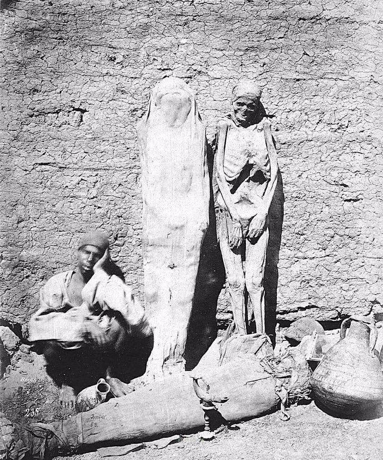 Мужчина продаёт мумий на улице Каира. Египет, 1875г.