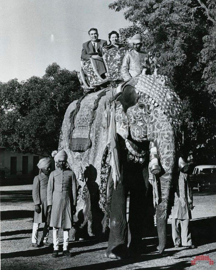 Почётная поездка Председателя Президиума Верховного Совета СССР Л. И. Брежнева с супругой на убранном в золотую попону слоне во время официального визита в Индию, 1961 год