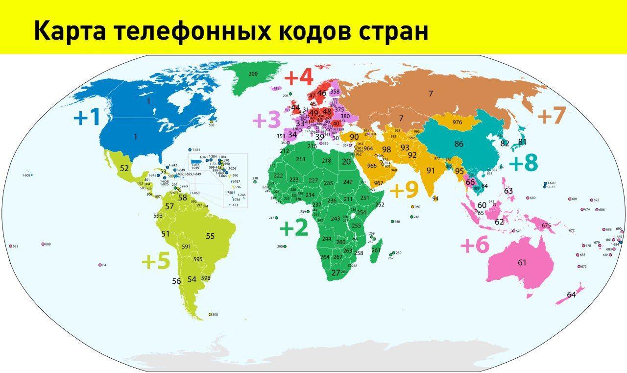 Карта телефонных кодов стран