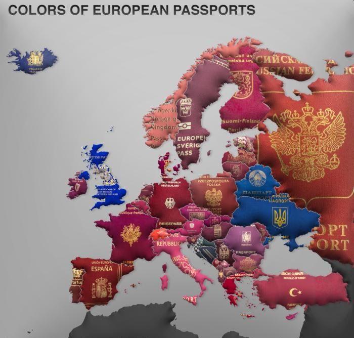 Цвет паспортов в Европе