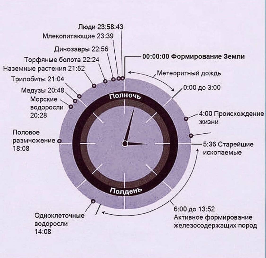 История Земли, ужатая до 24 часов. Люди появились чуть больше минуты назад :–)