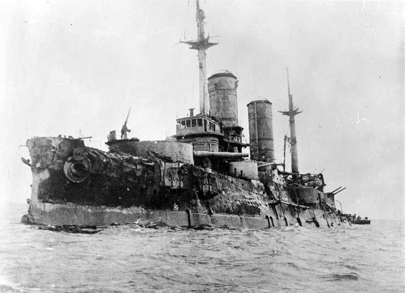 Эскадренный броненосец «Слава» после Моонзундского сражения, 1917 год