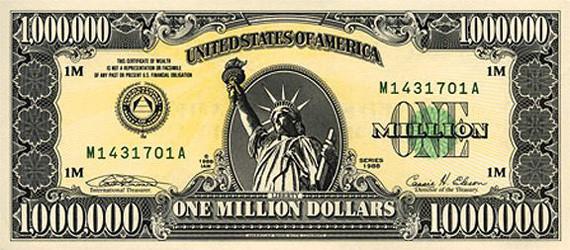 Банкнота / купюра 1000000 долларов США, лицо