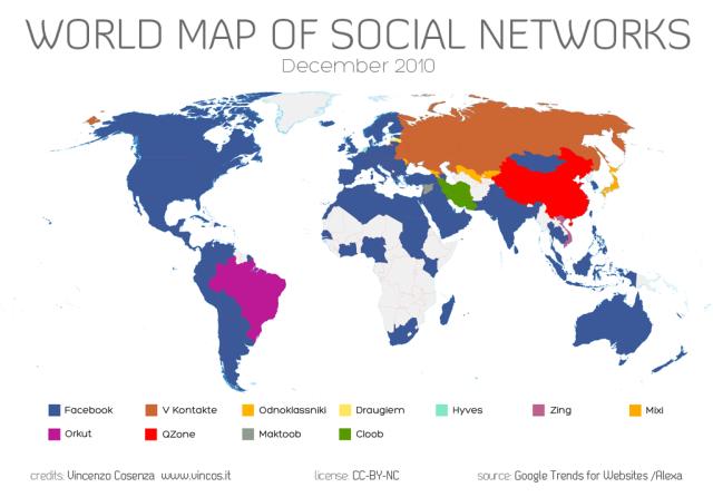 Карта доминирования социальных сетей 2010