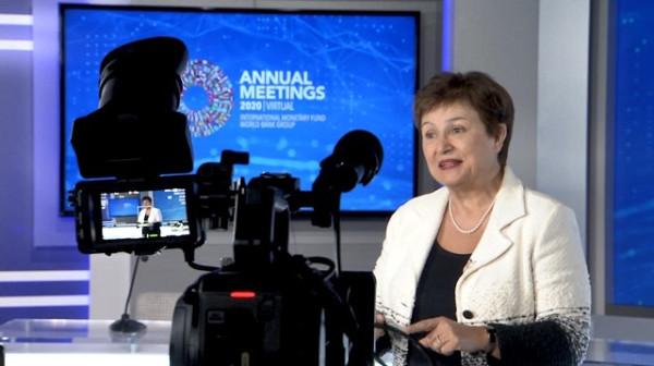 Кристалина Георгиева выступает с видео-обращением. Фото imf.org