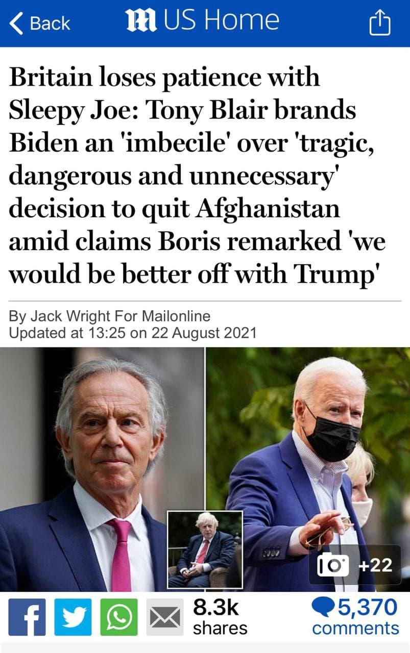 А через некоторое время выразил уважение Владимиру Путину – « Tony Blair: Putin stays and fights while the West runs [8] ».