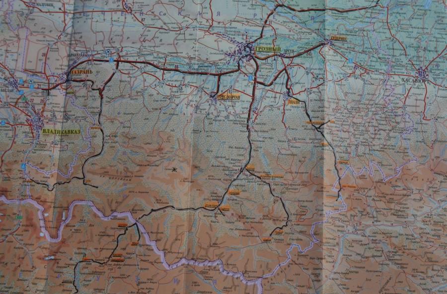 Чечня и Ингушетия, карта маршрута 04-2012