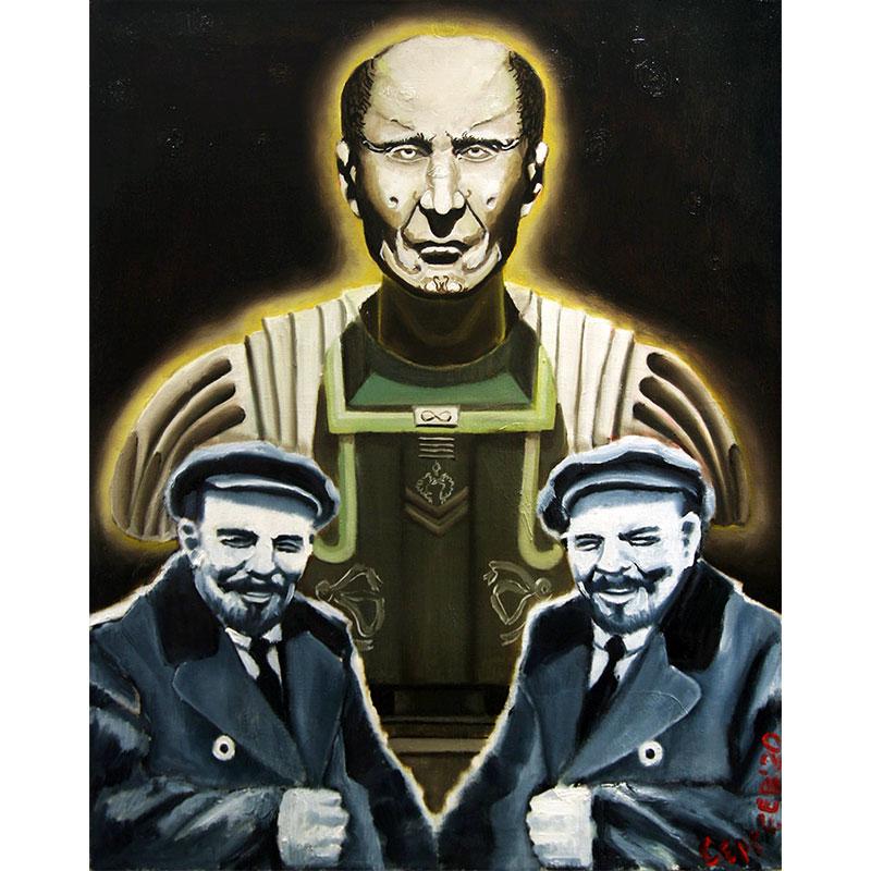 """Ленин и Обнуленин"" холст, масло. 70 Х 50 см. 2020 г. / ""Lenin and Zeroed"" oil on canvas. 70 X 50 cm. 2020"
