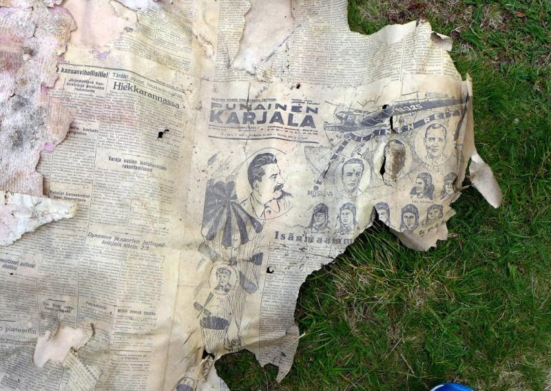 ...газета, которой была оклеена стена чулана. Punainen Karjala (Красная Карелия) за 18 августа 1936...