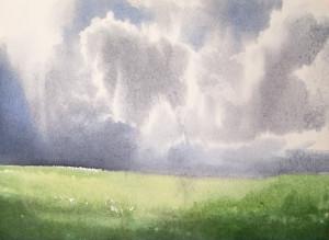 Облака над лугом