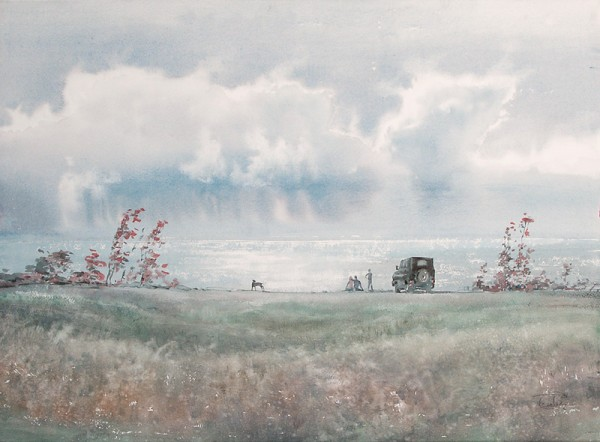 In the September afternoon above the sea