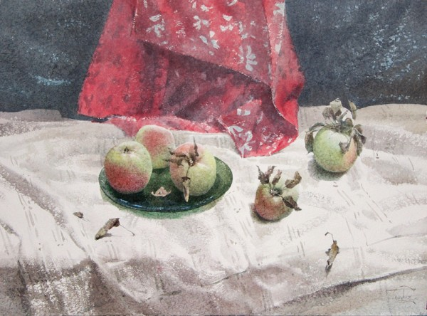 The apples on the white tablecloth