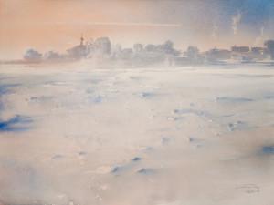Над краем снежной равнины