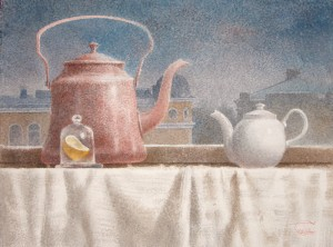 Boiling water, tea and lemon
