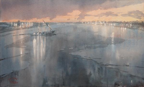 The February morning on Neva river