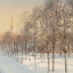 The ice and shadows of the Mikhailovsky garden