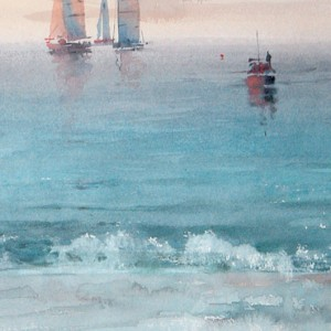 Evening. Silent sea