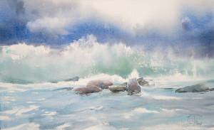Камни и набегающая волна