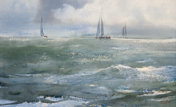 The run of waves, clouds and yachts