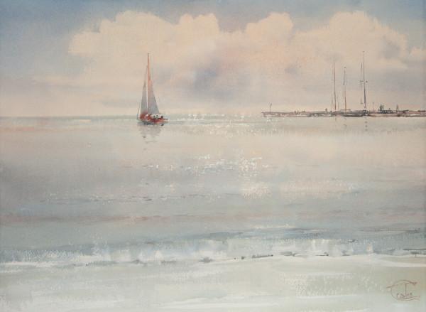 Quiet sea. Evening
