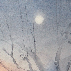Moon over night street