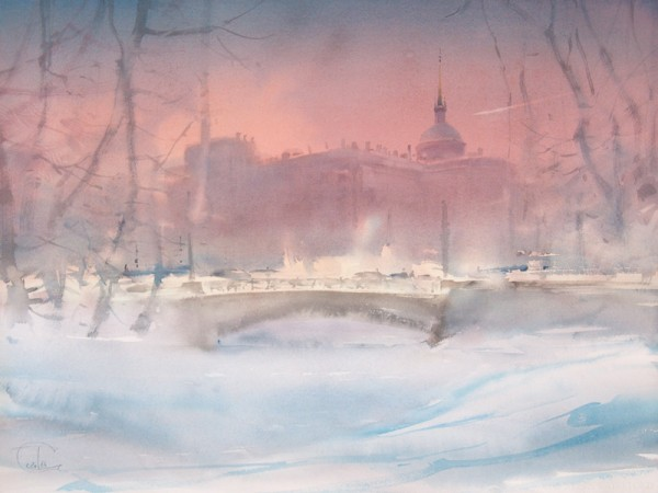 A short day of the St-Petersburg' winter. The Castle