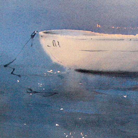 лодка у берега акварелью