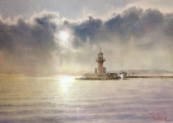 The sun above the lighthouse