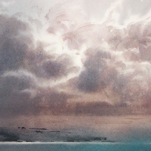 Thunderstorm over the distant shore