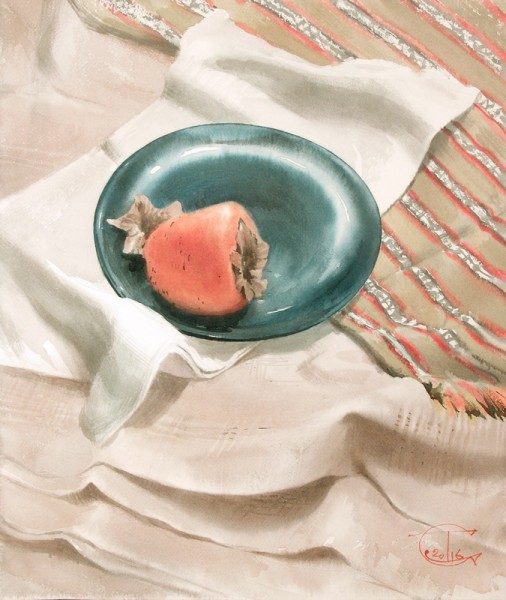 The Persimmon on the glass plate