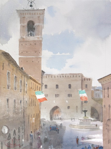 Fabriano, Piazza del Comune. The spring rain gathers