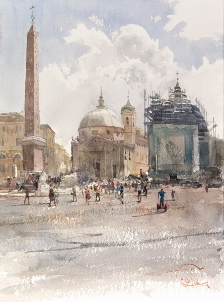 Piazza del Popolo and the shining clouds