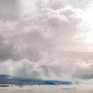 The far blue shore