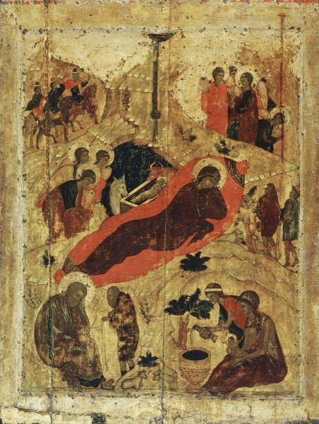"""Христос раждается, славите: Христос с небес, срящите: Христос на земли, возноситеся. Пойте Господеви, вся земля, и веселием воспойте, людие, яко прославися. Андрей Рублёв.""""Рождество Христово"""". Благовещенский собор Московского Кремля. 1405 г"""