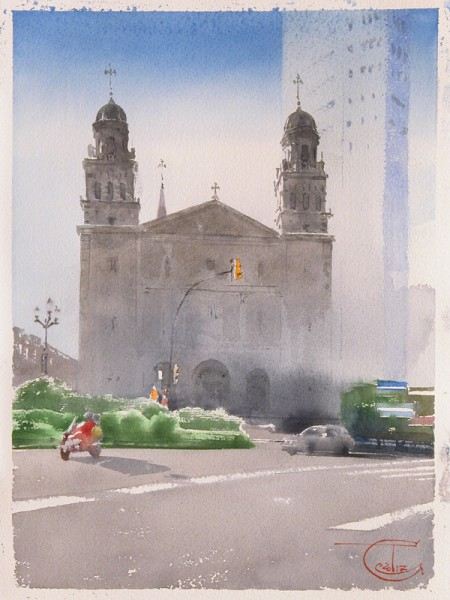 Gijon, St. Joseph Church and the tower of Bankunion