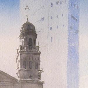 Gijon, St. Joseph Church and the tower of Bankunion