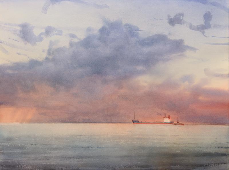 Twilight over the calm sea