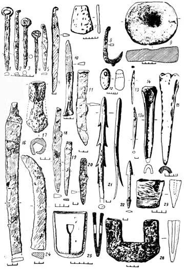 Находки из Иволгинского городища. Котлы, идентичные сарматским.Сверху слева- типичные кинжалы и для сарматской культуры. Их изображения часты в боспорском искусстве.2- изображение лося, часто встречающееся еще в кулайской культу